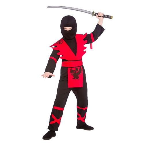 Childrens Boys Ninja Assassin Costume for Oriental Fighter Soldier Fancy Dress